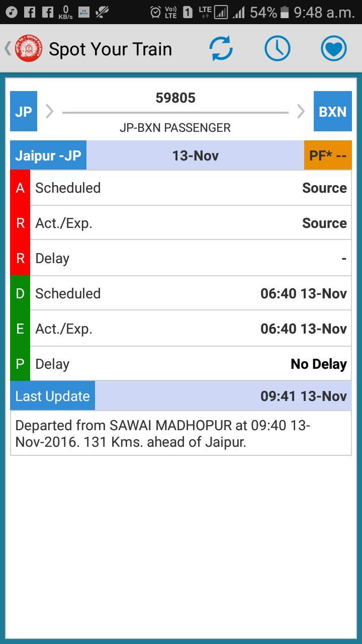 59805/Jpr Byn NTES ki karamat dekho . Abhi train SWM ke outer par.