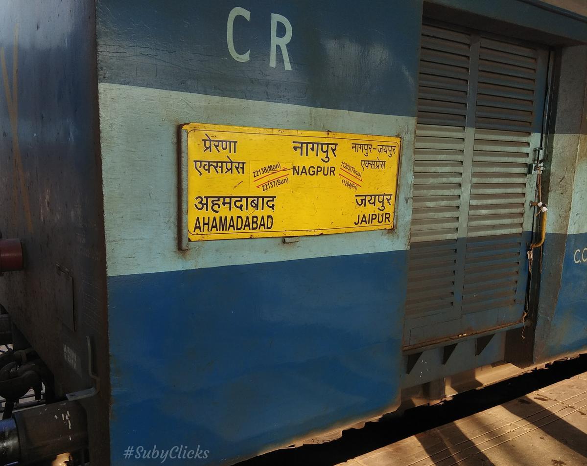 11203/Nagpur - Jaipur Weekly Express - Nagpur to Jaipur CR/Central Zone -  Railway Enquiry