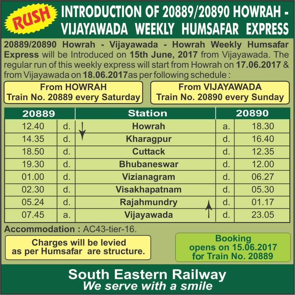 2322998-0: Introduction of 20889/20890 HWH- Vijayaw 20889/Howrah -  Vijayawada Humsafar Express - Railway Enquiry