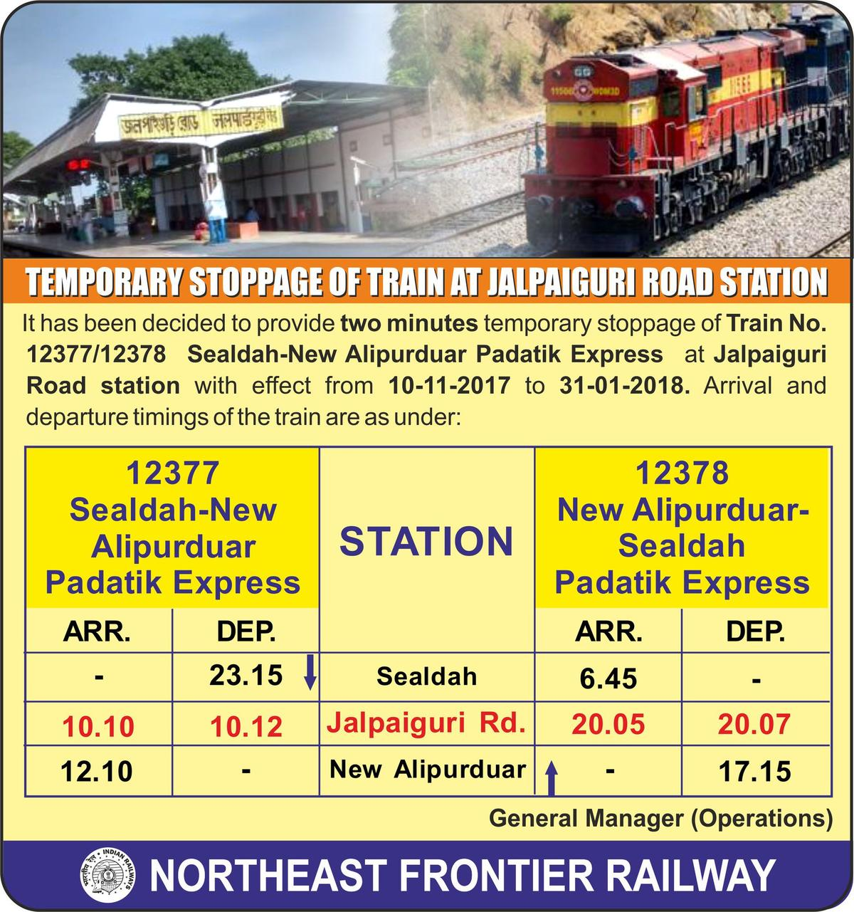 2787456-0: Official Notification for temporary stop 12377/Padatik Express -  Railway Enquiry